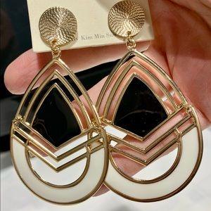 Goldtone, Black & White Pierced Earrings